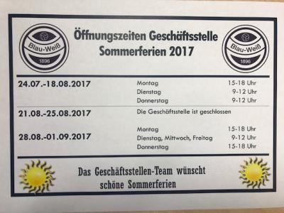 Vorschaubild zur Meldung: Öffnungszeiten der Geschäftsstelle in den Sommerferien