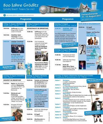 Foto zur Meldung: Das Programm für das 800 Jahre Gröditz Festwochenende