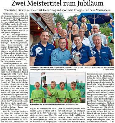 Vorschaubild zur Meldung: 40 Jahre Tennisclub Fürstenstein