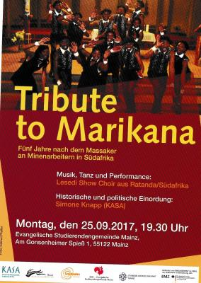Vorschaubild zur Meldung: Veranstaltung am 25. September: Tribute to Marikana