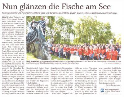 """Foto zur Meldung: Enthüllung der Skulptur """"Crivitzer Fischregen"""""""