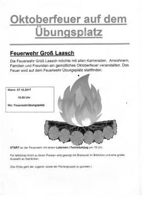 Foto zur Meldung: Groß Laasch - Oktoberfeuer auf dem Feuerwehrübungsplatz