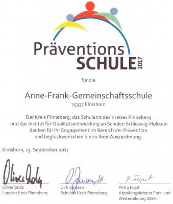Urkunde Präventionsschule