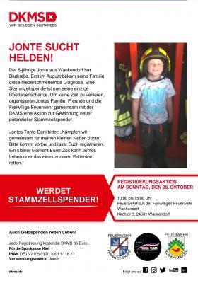Foto zur Meldung: Kampf gegen Blutkrebs – Stammzellen-Registrierung bei der Feuerwehr Wankendorf am 8. Oktober 2017