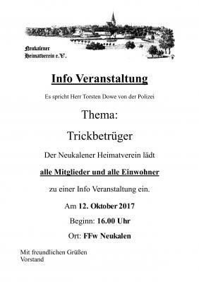 Foto zur Meldung: Info Veranstaltung vom Neukalener Heimatverein.