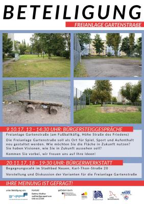 """Vorschaubild zur Meldung: Beteiligung und Freianlagengestaltung """"Gartenstraße"""" in Nauen"""