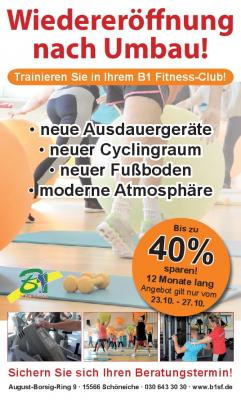 """Foto zu Meldung: """"Eröffnung"""" nach Fitness Studio Erweiterung am 21.10."""