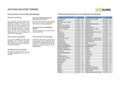 Vorschaubild zur Meldung: Abholung der grauen Papiertonne (Sita/Suez)