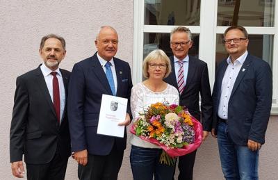v.l.: Manfred Herget, Manfred u. Regina Helfrich, Günter Voß und Frank Unger