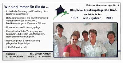 Foto zur Meldung: Häusliche Krankenpflege Ute Braß