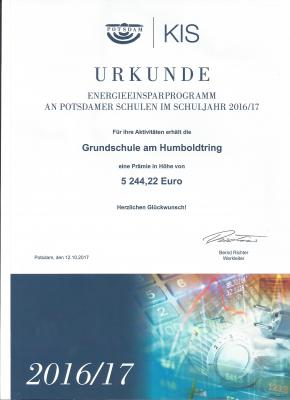 Foto zur Meldung: 3. Platz bei den Potsdamer Energiesparschulen