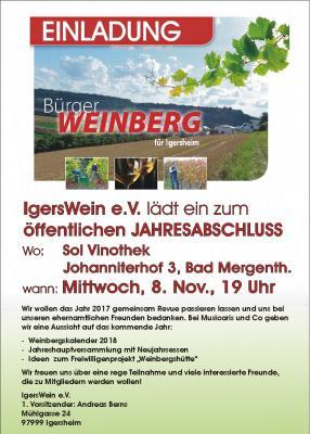 Foto zu Meldung: IgersWein e.V.: Einladung zum Jahresabschluss, Mittwoch, 8.11. um 19 Uhr