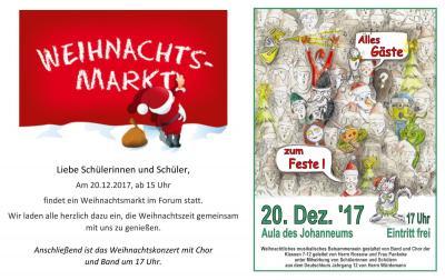 Vorschaubild zur Meldung: Weihnachtsmarkt und Weihnachtskonzert im Johanneum am 20.12.2017