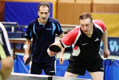 Andre Wulf (rechts) mit Andranik Harounian - Herren C Doppel