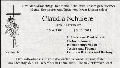 Foto zur Meldung: Wir trauern um Claudia Schuierer