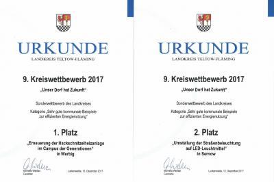 Urkunde 1. und 2 Platz 9. Kreiswettbewerb 2017