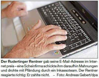 Vorschaubild zur Meldung: Scheinfirma will Rentner abzocken