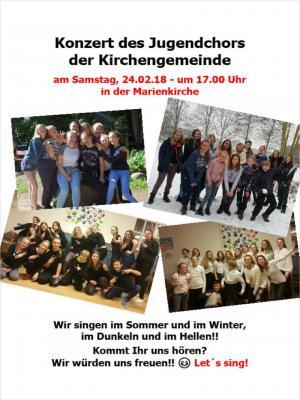 Vorschaubild zur Meldung: Jugendchorkonzert am 24.02.17 in der Marienkirche zu Schönkirchen