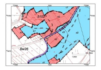 roter Bereich = Privatwald, blauer Bereich = Stadtwald Berka