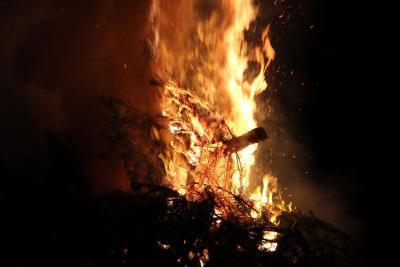 Foto zur Meldung: Das Ende von Weihnachten – Feuerwehr verbrannte die Tannenbäume
