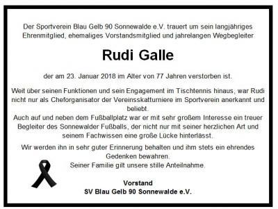 Foto zur Meldung: Der Sportverein trauert um Rudi Galle
