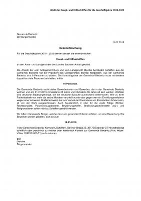Vorschaubild zur Meldung: Bekanntmachung der Gemeinde Biederitz zur Schöffenwahl 2018