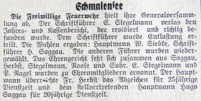 Foto zur Meldung: Vor 85 Jahren: Willi Siebke wieder zum Wehrführer gewählt