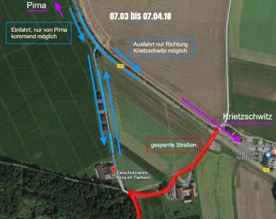 Anfahrt Tierheim seit 7.3. Straßensperrungen | Kartendaten © 2018 GeoBasis-DE/BKG (©2009), Google