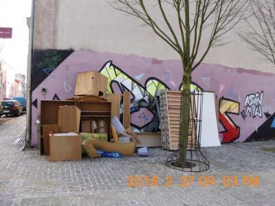Sperrmüll in der Gartenstraße Ecke Dorothea-von-Reppen-Weg