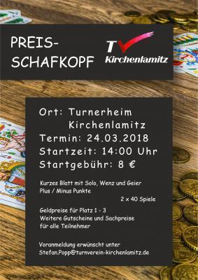 Vorschaubild zur Meldung: Preisschafkopf am 24.03.18 im Turnerheim Kirchenlamitz