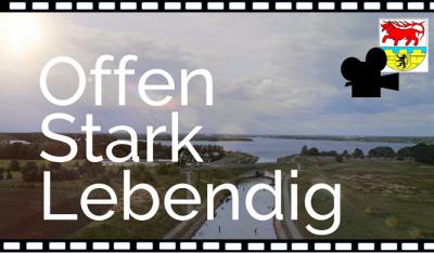 """""""OSL-Offen, Stark, Lebendig"""" – unter diesem Motto nimmt der Imagefilm der Kreisverwaltung OSL seine Zuschauer mit auf eine beeindruckende Reise durch die Region. (Grafik: Landkreis)"""