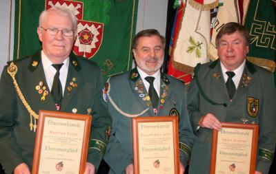 Zu Ehrenmitgliedern ernannt: v.l. M. Fette, K.D. Jahn, E. Stemme