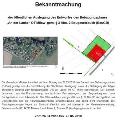 """Vorschaubild zur Meldung: Bekanntmachung der öffentlichen Auslegung des Entwurfes des Bebauungsplanes  """"An der Lanke"""" OT Milow  gem. § 3 Abs. 2 Baugesetzbuch (BauGB)"""