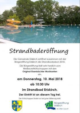 Vorschaubild zur Meldung: Bürgerstiftung Eriskirch bei der Strandbaderöffnung 2018- abgesagt!!