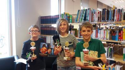 Gewinner des Vorlesewettbewerbs (Michael Macak 3. Platz, Tristan Gohla 2. Platz, Benjamin Biersack 1. Platz)
