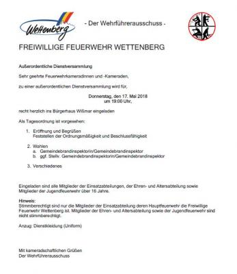 Vorschaubild zur Meldung: Einladung zur außerordentlichen Dienstversammlung