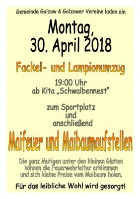 Foto zur Meldung: Fackelumzug und Maifeuer am 30. April