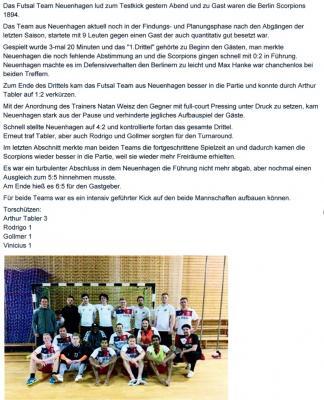 Vorschaubild zur Meldung: Futsal: Bericht zum Testkick