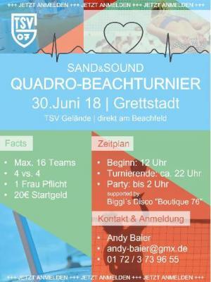 Vorschaubild zur Meldung: Sand and Sound Quadro-Beachvolleyballturnier beim TSV Grettstadt