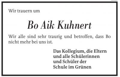 Foto zur Meldung: Wir trauern um Bo Aik Kuhnert