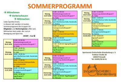 Vorschaubild zur Meldung: 10.07. - 02.08.2018  -- Sommerprogramm