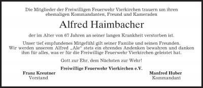 Foto zur Meldung: Trauer um Alfred Haimbacher
