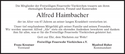 Trauer um Alfred Haimbacher