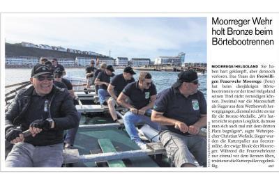 Vorschaubild zur Meldung: Moorreger Feuerwehr holt Bronze beim Börtebootregatta vor Helgoland