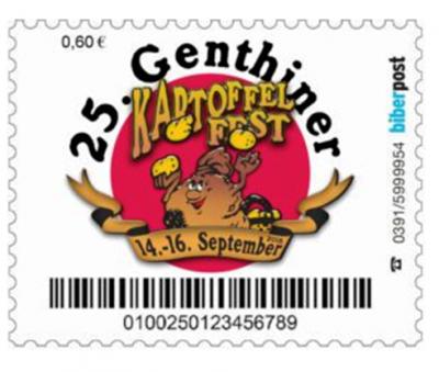 """Vorschaubild zur Meldung: Vorstellung der Sonderbriefmarke """"25. Genthiner Kartoffelfest 2018"""" - Tolle Knolle, tolle Briefmarke"""