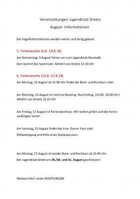 Vorschaubild zur Meldung: Augustinformationen für den Jugendlub in Dreetz