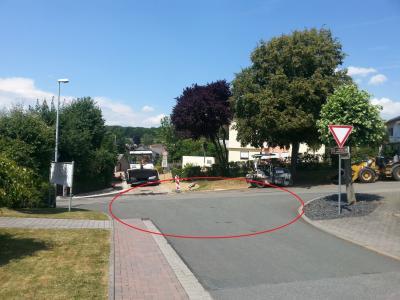 Skizze Kreisel im Einmündungsbereich Gill-/Schulwiese auf Brandholz/K50; Messung siehe Anlage