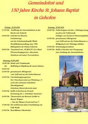 Vorschaubild zur Meldung: Gemeindefest und 150 Jahre Kirche St. Johann Baptist zu Gehofen