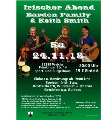 Vorschaubild zur Meldung: !ABGESAGT! Irischer Abend am 24.11.2018 in Weichs Barden Familiy & Keith Smith im Sport- und Bürgerhaus in Weichs.