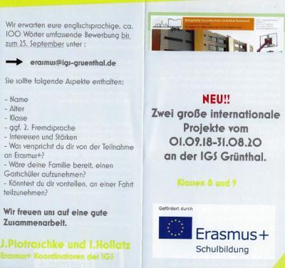 Vorschaubild zur Meldung: Wanted! Schüler der Klasssen 8 und 9 für Erasmus+ Projekte